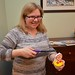 Sue Lights Violet's Birthday Cupcake