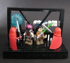 Rebel Duel (Beɳ) Tags: lego starwars rebels theempire royalguards ezrabridger sabinewren blockaderunner