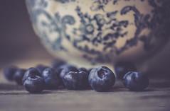 Plump Blueberries (jm atkinson) Tags: blueberry blueberries macro 105mm d700 pottery blue still wood light food fruit 7dwf bokehwednesday hbw