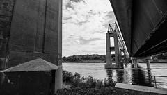 Ruins of the International Bridge : August 23, 2015 (jpeltzer) Tags: bridge blackandwhite ruins cornwall stlawrenceriver bridgetonowhere internationalbridge