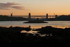 Britannia Bridge Reflection at Sunset (andrewjd44) Tags: bridge sunset reflection wales cymru britannia anglesey northwales britanniabridge