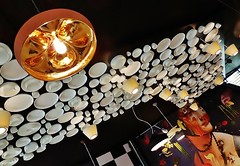 upside down world (SM Tham) Tags: portrait italy milan lady painting ceramic lights cafe belgium ceiling cups copper pavilion belgian plates bowls crockery lampshades expomilano2015