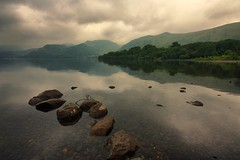 Ullswater Reflections (Andy Watson1) Tags: park uk trees summer england cloud lake reflection english water weather rock clouds canon reflections landscape countryside nationalpark still scenery rocks mood moody view cloudy britain district united great lakedistrict scenic sigma atmosphere kingdom scene calm symmetry clear national cumbria symmetrical british serene shallow atmospheric lakedistrictnationalpark ullswater cumbrian 450d