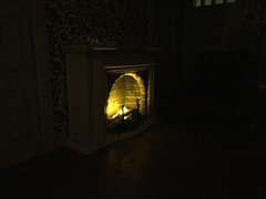 4. Living Room Fireplace Complete (Foxy Belle) Tags: light real toys miniature diy fireplace tea good colonial simplicity williamsburg handcrafted dollhouse