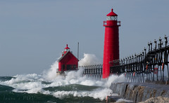 the BREEZE is nice today (laura's Point of View) Tags: autumn lighthouse storm beach weather pier october waves michigan windy lakemichigan greatlakes cannon grandhaven windstorm puremichigan lauraspointofview lauraspov