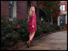Natalie - Leaving So Soon? (jfinite) Tags: autumn red fall beauty fashion season model dress boots environmental portraiture blonde