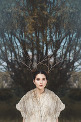 (Tc photography.Perú) Tags: trees portrait sky brown sun color green nature girl beauty fairytale composition forest portraits canon 50mm model skin branches magic fineart dream horns atmosphere naturallight deer human fantasy beautifull tcphotography