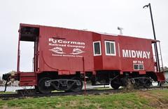 Midway, Kentucky (3 of 6) (Bob McGilvray Jr.) Tags: railroad red public rain train parkinglot display cloudy kentucky ky steel tracks overcast caboose rainy midway ln baywindow louisvillenashville rjcorman