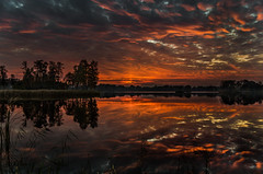 World in flames (piotrekfil) Tags: trees sunset sky sunlight lake reflection nature water clouds landscape twilight pentax dusk poland waterscape sigma1750mmf28 piotrfil