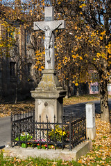 The old christian crucifix in street during the autumn (v.Haramustek) Tags: christina religion jesus isus crusifix