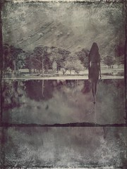 Watersteps (lindyginn) Tags: water reflections girl ipad iphoto landscapes distressed ethereal surreal lake grey black white mountain trees plants house vintage