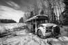 Old Burnt Bus (wrighteye) Tags: alberta canada abandoned bus winter fire damage school canon 1740mm landscape