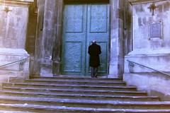 prayer. (Katka.On.Film) Tags: people architecture stairs lviv ukraine travelling film analogue analog minolta 35mm man prayer church