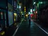 . (Elliott Fusy-Pudal) Tags: fukuoka kyushu japan rain rainnyday night street neonlights 福岡 福岡市 日本 九州 雨の日 夜 通り lastdays umbrella 傘 shops 商店 ネオン