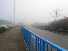 Into  the  fog (claireartistpoet) Tags: a50 main road fence blue fog