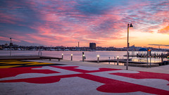 Sunrise from South Baltimore (John Diven) Tags: maryland flag underarmour headquarters sunrise longexposure blue hour