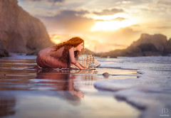 Escape ({jessica drossin}) Tags: jessicadrossin girl sea boat ship reflection sunset clouds rocks ocean wwwjessicadrossincom redhair redhead