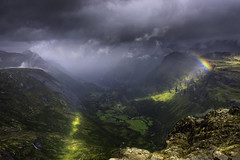 Scenic view (Ornaim) Tags: fjord norway norge view mountain rainbow rain sunrays water sea snow wind cloud summer trip vacation nature landscape road dalsnibba geiranger romsdal nikon d610 lee filter 1635 06 grad hard