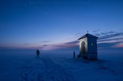 Lost in the fog (Mirek Pruchnicki) Tags: żurawica województwopodkarpackie polska chapel night foggy men sky winter snow