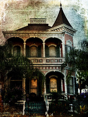 old house in Galveston... (elle Q1) Tags: finearttexture postprocessing victorian house southern style trees steps gingerbread trim turret shutters digital photo art architecture galveston texas spring shingles flowers wrought iron fence