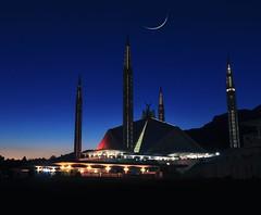 First moon of the lunar month (rizwankareem) Tags: moon evening dawn night mosque islamabad pakistan sunset cresent beauty
