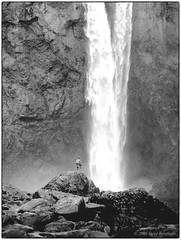 Fisherman & Falls (Fogle Images) Tags: snoqualmiefalls fishing portrait 645pool waterfall washington bw