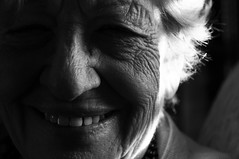 Grandma, 2 (Sabrina Romano) Tags: old woman elderly wrinkles smile bw black white grandma grandmother people portrait nikond90 nikonphotography nikonitaly nikon