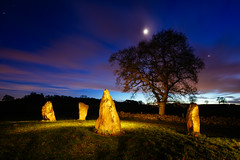 Four Ladies (J C Mills Photography) Tags: peakdistrict nightphotography ninestonesclose harthill derbyshire stonecircle bronzeage oak tree moon longexposure lightpainting stones megaliths megalithic gritstone