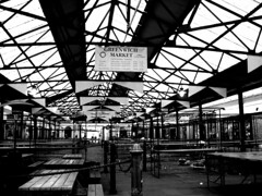 Greenwich Market opening times ([fakey]) Tags: blackandwhite london lines vanishingpoint geometry greenwich greenwichmarket fakey