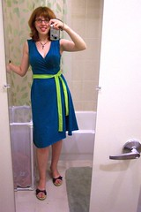 Aqua and green jersey knit wrap dress