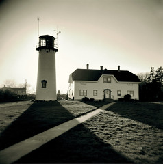 Chatham Lighthouse Holga - Cape Cod (Chris Seufert) Tags: light lighthouse beach coast guard christopher chatham cape cod seufer