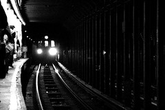 subway study (JKnig) Tags: newyorkcity light bw tag3 taggedout train subway tag2 tag1 grain fk bleeckerstreet inevertireofseeingsubwaycarsflythroughstationsattopspeed
