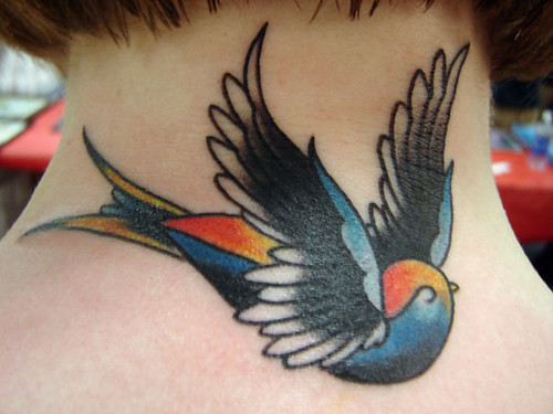 swallow tattoo, done at long