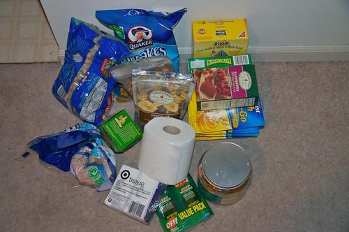 Snacks, snacks, snacks, toilet paper