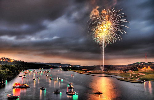 Fourth on Lake Austin -- hdr austin fireworks texas light sunset night travel lake south town colorado