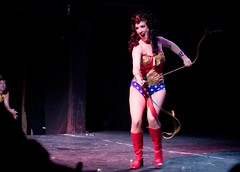 In her satin tights, fighting for her rights (techne) Tags: 50mm dc 300d warehouse striptease wonderwoman burlesque burlesqueasitwas indigoblue makeahawkadove stopawarwithlove makealiartellthetruth