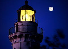 Guiding lights (James Jordan) Tags: light sky moon lighthouse topf25 night wow twilight peace guidance tranquility 100v10f jordan explore direction canaisland nite doorcounty jamesjordan cotcpersonalfavorite 30faves30comments300views