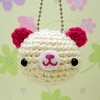 Amigurumi cream and pink teddy bear keychain
