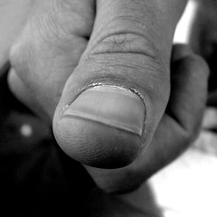 Thumbs Down (The Funky Lens) Tags: bw macro skin nail thumb wrinkles