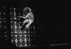 Eddie Van Halen Solo Antics 1982 (Taylor Player) Tags: music david rock roth photography michael jumping concert live explorer performingarts peavey 5150 marshall frankie destroyer fender frankenstein lee 80s overalls anthony americans males northamericans prominentpersons roll whites eddievanhalen van performers 1980s halen kramer amps wolfgang ampeg vanhalen blackandwhitephotography charvel evh frankenstrat