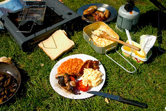 any where any time (lomokev) Tags: camping food cooking breakfast canon mushrooms eos bacon suffolk fishing 300d tomatoes egg cook sausage eos300d fryup fishingtrip scrambledegg fullenglish breaky beanbarrier file:name=crw6285