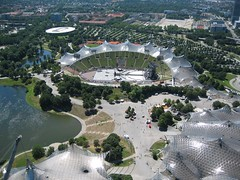 looking down on Munich's Olympic Park
