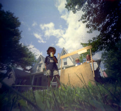 Lemonade Stand ([ CK ]) Tags: summer maine pinhole makingfriends thewaylifeshouldbe chebeague pinholga lemonadestand chebeagueisland myassistant poormanstripod brownies50 lemonade50