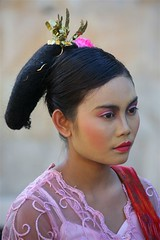 Woman With A Traditional Hairstyle During A Festival, Mataram, Lombok Island, Indonesia (Eric Lafforgue) Tags: people male beauty vertical indonesia outdoors photography asia southeastasia purple ceremony makeup womenonly equipment celebration beautifulwoman h