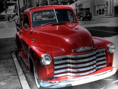Chevy Pickup (Videoal) Tags: auto california bw chevrolet photoshop truck vintage interestingness gm pickup explore chevy beverlyhills hdr redcar photomatix drivingconversations