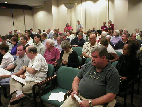 NIMBYs at a public meeting.