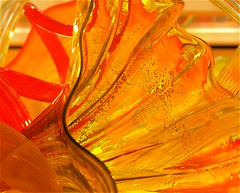 Glass (beccafromportland) Tags: red chihuly glass yellow ruffles indianapolis indiana bubbles explore childrensmuseum twists abigfave