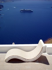 Wish you were here... (jimacos) Tags: blue sea relax island boat chair scenery mediterranean view aegean hellas santorini greece harmony cruiseship minimalism cyclades thira imerovigli interestingness177 i500   e