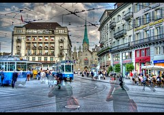 paradeplatz (Toni_V) Tags: church topv111 wow d50 switzerland topv333 bravo zurich tram topv222 hdr grossmnster paradeplatz fraumnster photomatix supershot 3exp toniv abigfave freehandhdr toniv