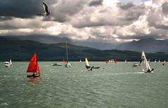 Start of the race, but for who.. (abstract_effects) Tags: sea cloud mountains wales sailing seagull 2006 racing explore sail beaumaris wfc anglesey northwales gogleddcymru sailingdinghy abstracteffects superbmasterpiece sailingdinghies